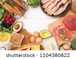 various foods that are perfect... | Shutterstock . vector #1104380822