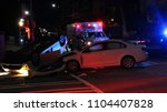 car accident on city street in... | Shutterstock . vector #1104407828