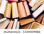 top view of colorful hardback... | Shutterstock . vector #1104409886