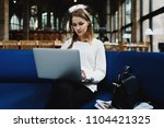fashion blogger writing article ...   Shutterstock . vector #1104421325