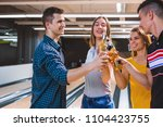 happy hour in bowling alley | Shutterstock . vector #1104423755