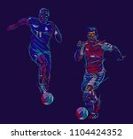 soccer players kicking ball.... | Shutterstock .eps vector #1104424352