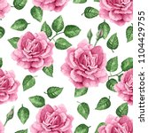 Stock vector rose flowers petals and leaves in watercolor style on white background seamless pattern for 1104429755