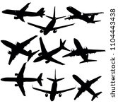 set of silhouettes of planes... | Shutterstock .eps vector #1104443438