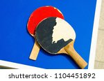 two old table tennis rackets | Shutterstock . vector #1104451892