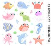 cute sea animals set | Shutterstock .eps vector #1104460568