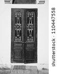 vintage door with wrought iron... | Shutterstock . vector #110447558