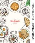 breakfasts top view frame.... | Shutterstock .eps vector #1104480938