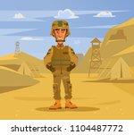 happy smiling soldier man... | Shutterstock .eps vector #1104487772