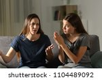 regretful girl begging forgive... | Shutterstock . vector #1104489092