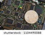 bitcoin mining concept. silver...   Shutterstock . vector #1104490088