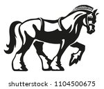 Stock vector shire horse draft horse heavy horse vector logo illustration fully adjustable scalable 1104500675