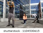 young athletes train in the... | Shutterstock . vector #1104530615