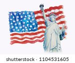 statue liberty on flag american ... | Shutterstock . vector #1104531605