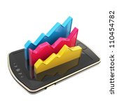Mobile report statistics analysis conception as statistical data indicators over smart phone screen surface isolated on white - stock photo