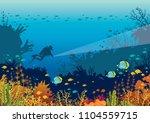 underwater marine life  ...   Shutterstock .eps vector #1104559715