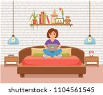 freelancer happy young woman... | Shutterstock .eps vector #1104561545