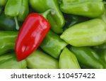 Sweet Red Pepper Against Green...