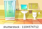 bathroom with stall shower... | Shutterstock .eps vector #1104574712