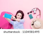 travel woman selfie happily on... | Shutterstock . vector #1104581495