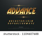 alphabet gold metallic and... | Shutterstock .eps vector #1104607688