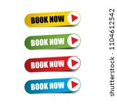 book now on realistic sticker...   Shutterstock . vector #1104612542