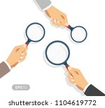 hands holding a magnifying... | Shutterstock .eps vector #1104619772