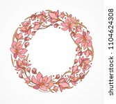 floral circle wreath with... | Shutterstock .eps vector #1104624308