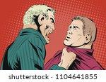 stock illustration. man yells... | Shutterstock .eps vector #1104641855