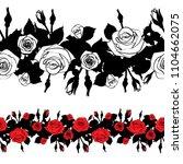 roses contour line art doodle... | Shutterstock .eps vector #1104662075