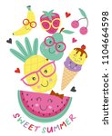 poster  with cute ice cream and ... | Shutterstock .eps vector #1104664598