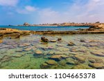 ruins of the ancient port of...   Shutterstock . vector #1104665378