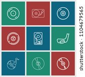 disc icon. collection of 9 disc ... | Shutterstock .eps vector #1104679565