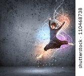 girl dancing in a color dress... | Shutterstock . vector #110468738