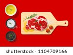 raw meat   beef steak and... | Shutterstock .eps vector #1104709166