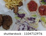 fast food on the table  | Shutterstock . vector #1104712976