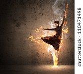 girl dancing in a color dress... | Shutterstock . vector #110471498