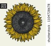 sunflower vector hand drawn... | Shutterstock .eps vector #1104728678