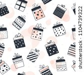 gift boxes in seamless pattern  ... | Shutterstock .eps vector #1104739322