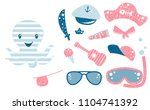 octopus cute set. sea fanny boy ... | Shutterstock .eps vector #1104741392