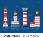 red lighthouse set. sea guiding ... | Shutterstock .eps vector #1104746042