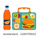 lunch box with a good lunch for ... | Shutterstock .eps vector #1104755012