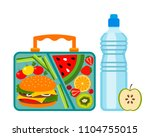 lunch box with a good lunch for ... | Shutterstock .eps vector #1104755015
