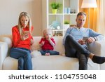 young parents ignore their kid... | Shutterstock . vector #1104755048