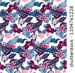 pattern with roses palm leaves... | Shutterstock .eps vector #1104761228