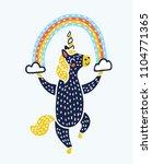 vector cartoon unicorn. little... | Shutterstock .eps vector #1104771365
