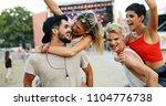 group of friends having fun... | Shutterstock . vector #1104776738