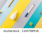 school and office supplies on... | Shutterstock . vector #1104788918