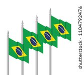 isometric flag of brazil 2 | Shutterstock .eps vector #1104792476
