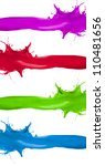 Various kinds of colored paints splashes.banners isolated on white background - stock photo